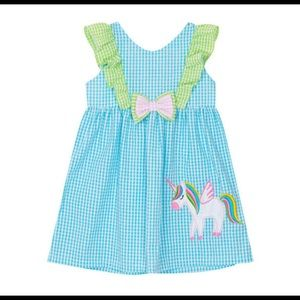 Rare Editions Seersucker Unicorn Dress, 4T/4